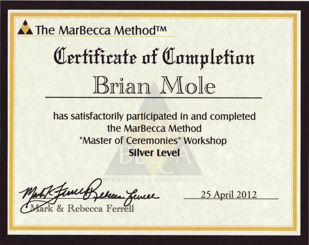 Brian Mole - Marbecca Silver MC graduate