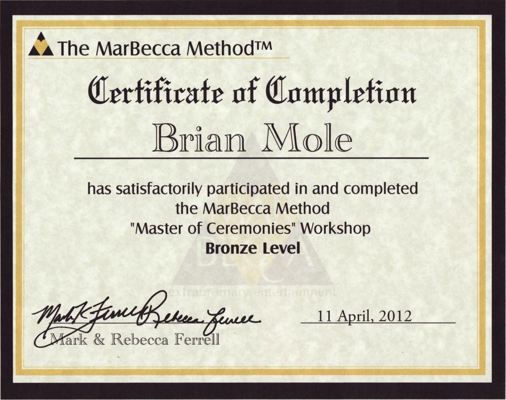 Brian Mole - Marbecca Bronze MC graduate