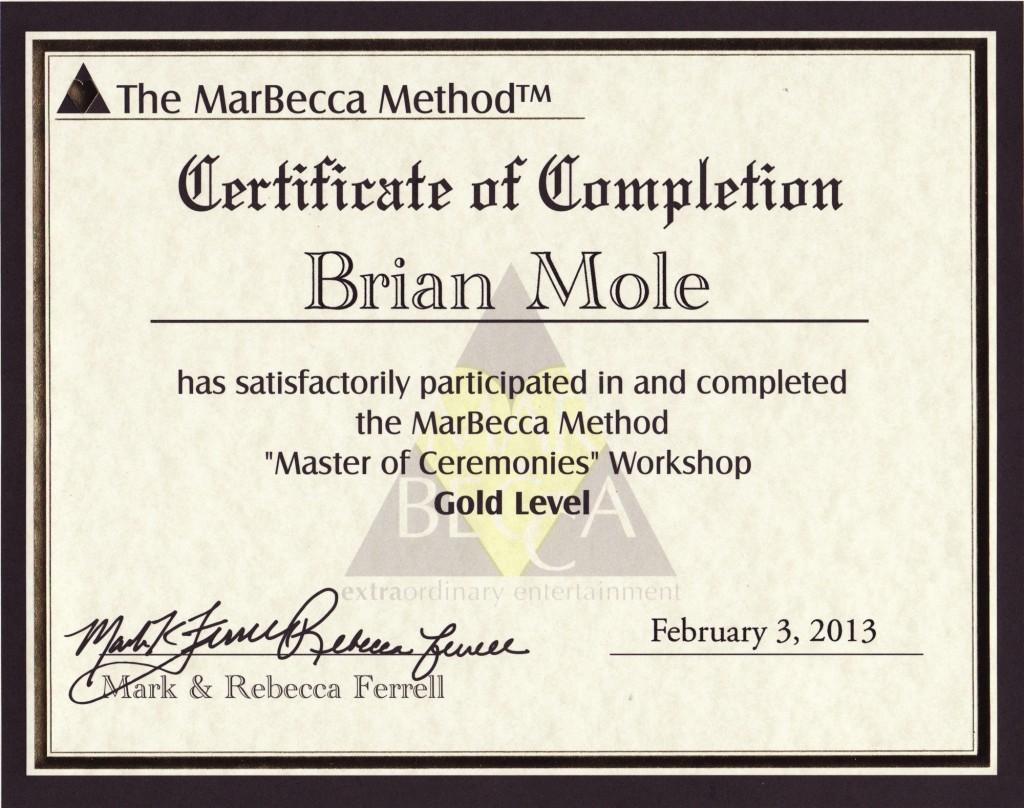Brian Mole - Marbecca Gold MC graduate