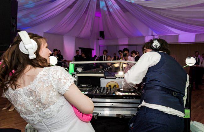 Amy and Jon evening wedding party at Denbies