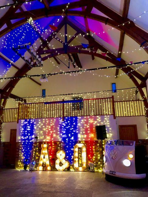 The Granary barn at Long Furlong Barn all set for Ollie and Adam 's fab wedding