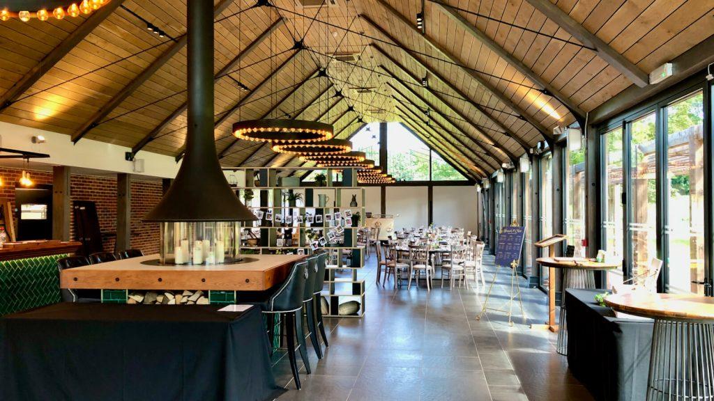 Syrencot wedding venue, the barn set for the wedding breakfast