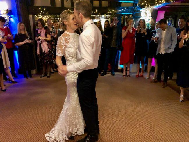 Sarah and James wedding first dance at The Crown Inn Chiddingfold